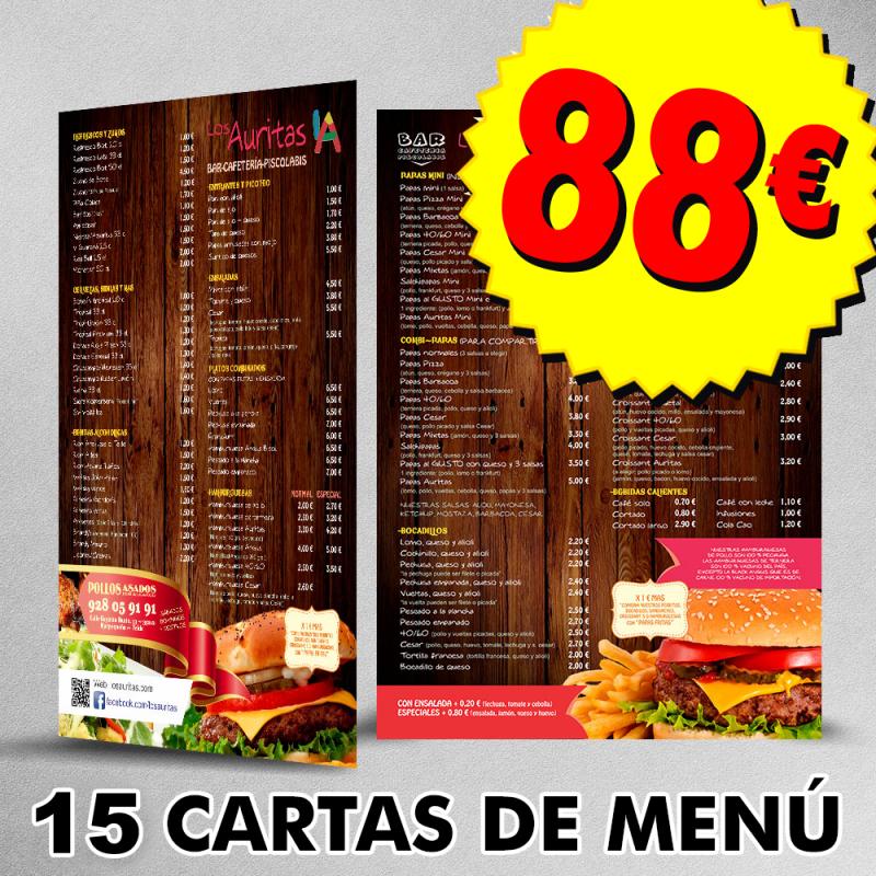 Cartas de menu Las Palmas